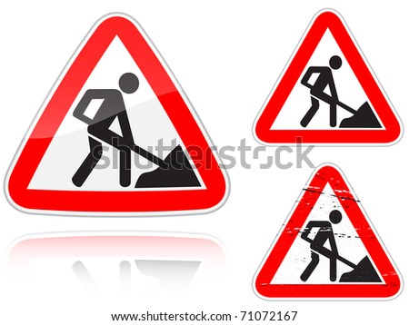 Set of variants a Works on the road - road sign isolated on white background. Group of as fish-eye, simple and grunge icons for your design. Raster illustration. - stock photo