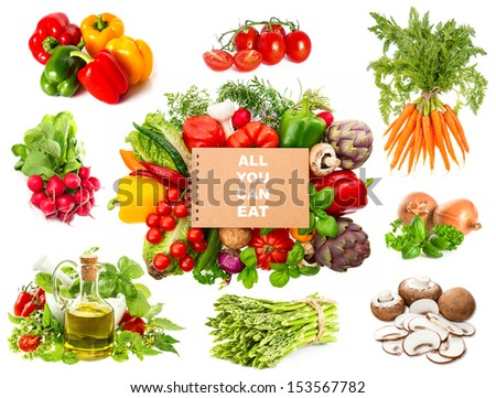 Set of variety fresh herbs and vegetables and recipe book isolated on white background. Healthy food concept. Sample text ALL YOU CAN EAT - stock photo