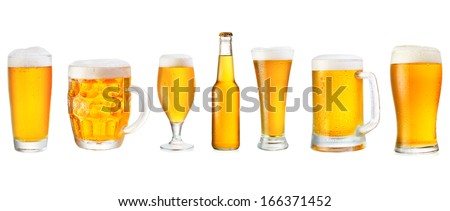 set of various beer isolated on white background - stock photo