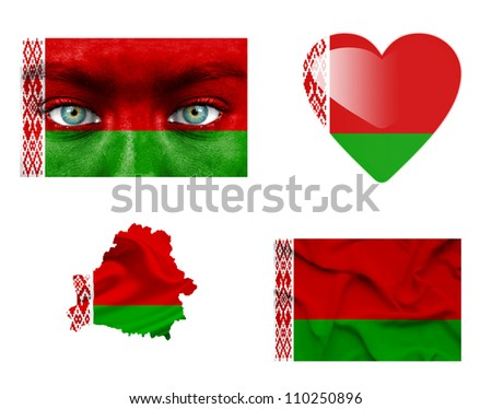 Set of various Belarus flags - stock photo