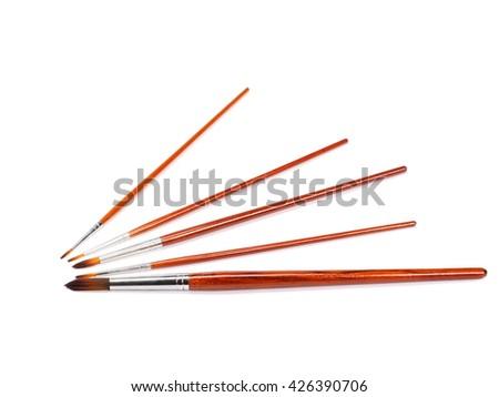 Set of  various brushes isolated on white background - stock photo