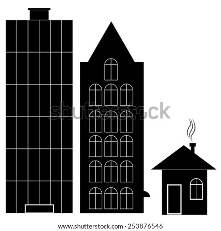 set of various buildings - stock photo
