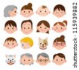 Set of various cartoon faces - stock vector