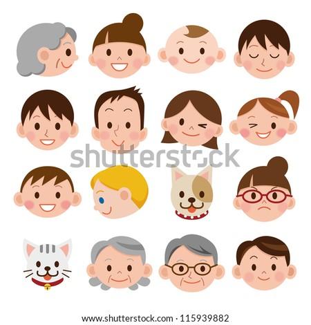 Set of various cartoon faces - stock photo