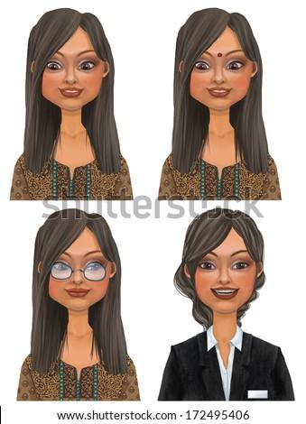 Set of various cartoon indian businesswoman faces, illustration  - stock photo