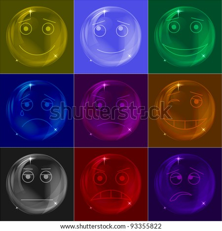 Set of various colored smileys soap bubbles - stock photo