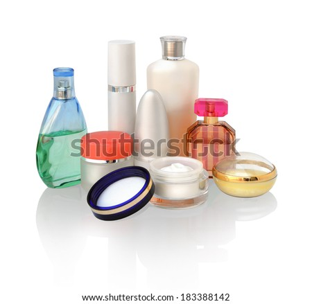 Set of various cosmetics objects for skin care and protection isolated on white background. Collection of face cream, shampoo, perfume, deodorant, body gel, hair conditioner, remedy for tan - stock photo