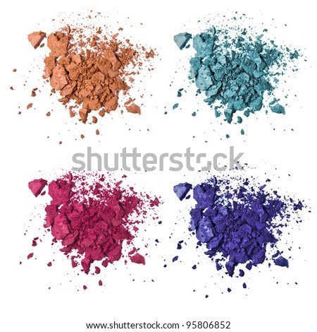 set of various crushed eyeshadow - stock photo