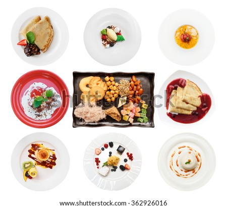 Set of various desserts isolated on white background - stock photo
