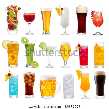 Set of various drinks, cocktails and beer isolated on white background - stock photo