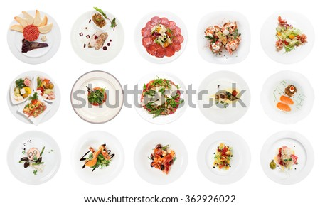 Set of various fish appetizers isolated on white background - stock photo