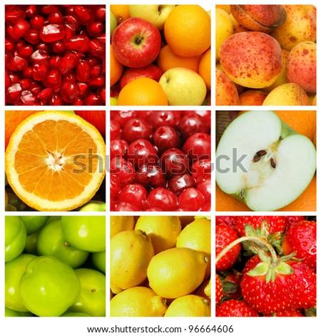 Set of various food items - stock photo