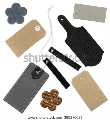 Set of various grungy aged and new paper and leather tags of various shapes, isolated over white background, highly detailed - stock photo
