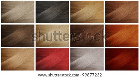 Set of various hair colors samples - stock photo