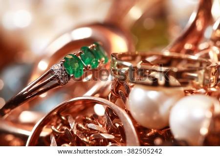 Set of various jewelry adornments extreme closeup - stock photo