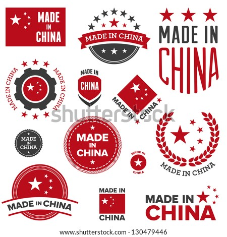 Set of various Made in China graphics and labels - stock photo
