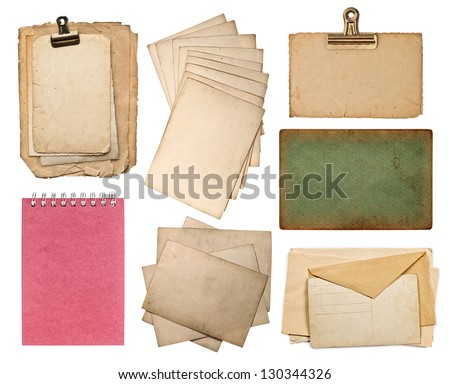 set of various old paper sheets. vintage photo album and book pages, cards, pieces isolated on white background - stock photo