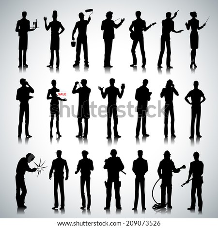 Set of various professions people silhouettes on abstract background - stock photo