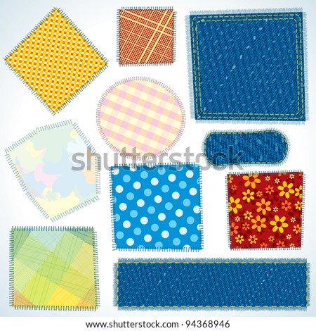 Set of Various Shaped, Isolated Cloth Patches - stock photo