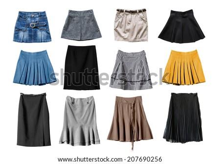 Set of various skirts on white background - stock photo