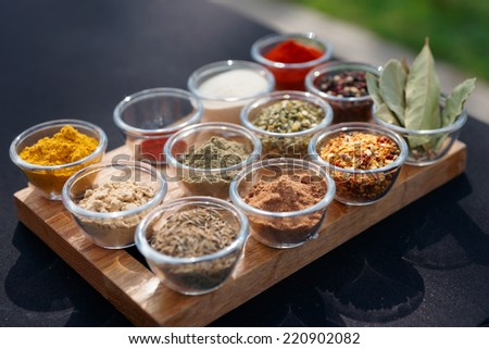 Set of various spices on table - stock photo