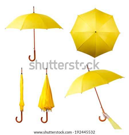 Set of various umbrellas isolated on a white background. Collection of folded, opened, top view umbrellas - stock photo