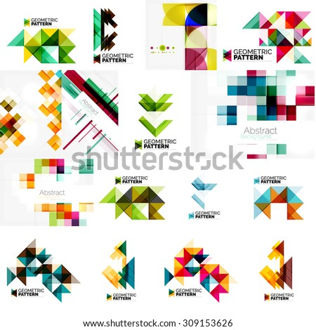 Set of various universal geometric layouts - backgrounds banner advertising layouts - templates, identity. Square, triangle, wave circle or swirl shape design - stock photo