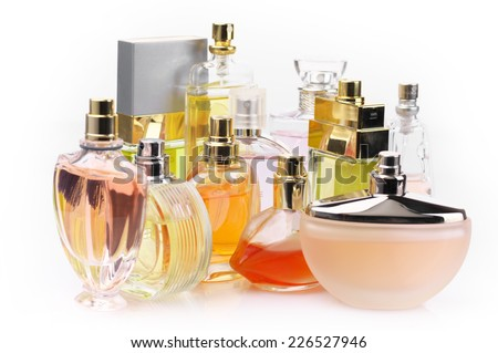 Set of various woman perfumes isolated o white background. - stock photo