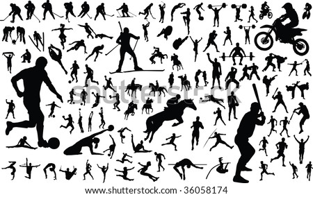 Set of vector silhouettes of people in sports - stock photo