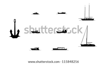 Set of vector silhouettes of ships - stock photo