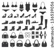 Set of vector silhouettes: shoes, swimwear and accessories. Icons. - stock vector