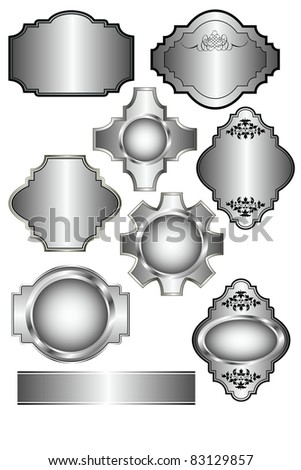 Set of vector Silver labels which can be used on menu templates, wedding invites and as bottle labels - stock photo