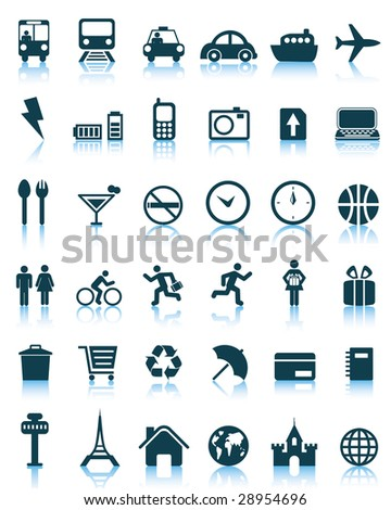 Set of 36 vector travel icons - stock photo