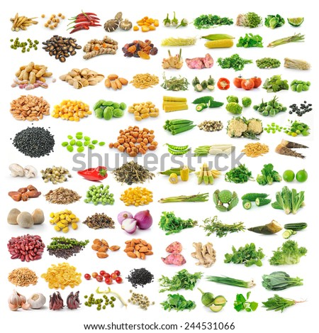 set of vegetable grains and herbs on white background - stock photo