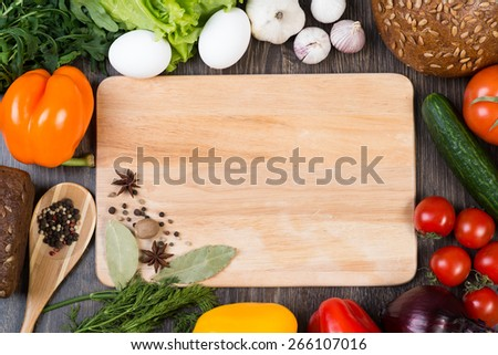 Set of vegetables and spices on kitchen table