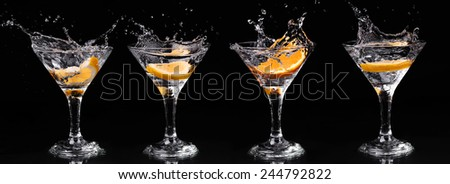 set of vermouth cocktail inside martini glasses over dark background