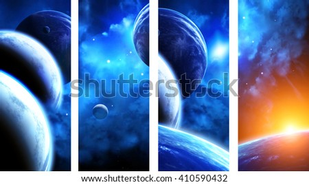 Set of vertical space banners with planets, nebula and stars. Elements of this images furnished by NASA - stock photo