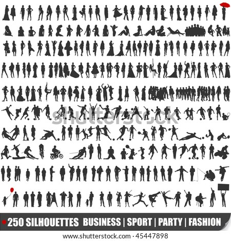 Set of 250 very detailed silhouettes - stock photo