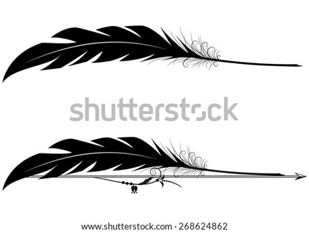 set of vignettes with feather pen in black and white colors - stock photo