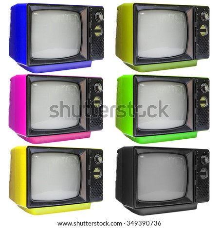 Set of vintage analog television isolated over white background, clipping path. - stock photo