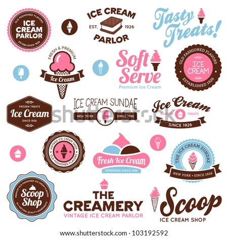 Set of vintage and modern ice cream shop badges and labels - stock photo