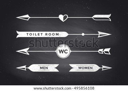 bathroom sign with arrow him and her set of vintage arrows and banners with text wc toilet room woman man royalty free stock illustration vintage arrows banners text