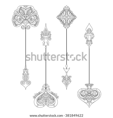 Set of Vintage Arrows. Suit (Playing Card). Isolated Objects On White Background
