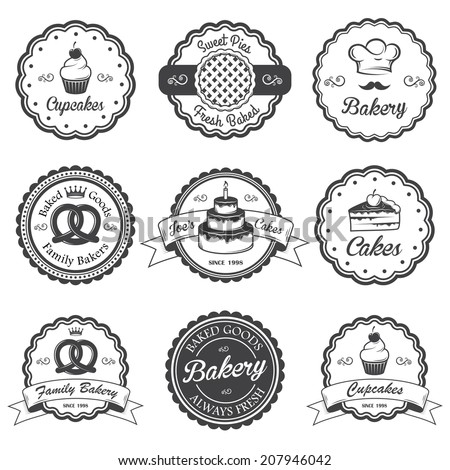 Set of vintage black and white bakery emblems, labels and designed elements. Set 2 - stock photo