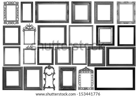 Set of Vintage Black picture frame, isolated with clipping path - stock photo