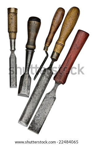 set of vintage chisels isolated over white background - stock photo