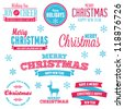 Set of vintage Christmas holiday labels and text graphics - stock photo