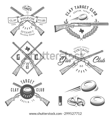 Set of vintage clay target and gun club labels, emblems and design elements - stock photo