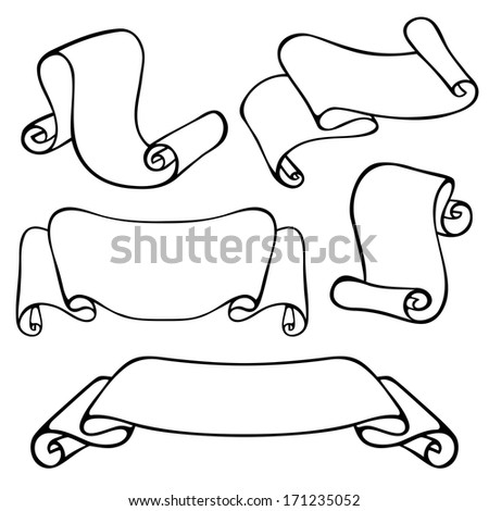 Set of Vintage Contour Scrolls in Different Forms - stock photo