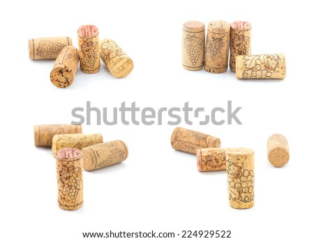 Set of Vintage dated wine bottle corks on the white background. Close up - stock photo